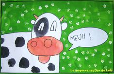 Dessin dirigé de la vache Cartoon Cow, Cute Cartoon, Lolo, Art Lessons, Sheep, Snoopy, Kids Rugs, Animation, Crafts