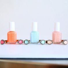 Use your manicure to inspire your style. Pair a Loren Hope bracelet with a matching coral, peach or baby blue essie nail polish.