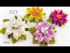 DIY Scrunchy with Kanzashi flowers Kanzashi Tutorial, Ribbon Flower Tutorial, Diy Ribbon, Ribbon Crafts, Fabric Flower Brooch, Organza Flowers, Felt Flowers, Fabric Flowers, Paper Flowers
