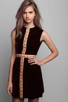 Vintage '60s Burgundy Velvet Dress #urbanoutfitters #vintage- cross panel line  Slight changes to modernize it...