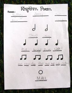 Noteworthy News...: Rhythm Poems- 4th grade