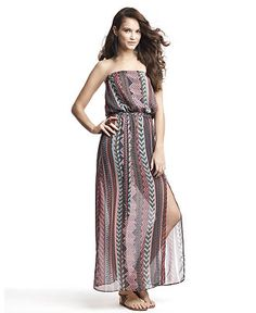 Bar III Dress, Strapless Straight Printed Sheer Chiffon Tie A Line Maxi
