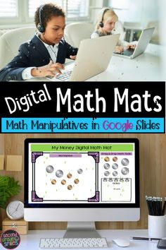 Teaching math virtually? Try out these virtual math manipulatives in Google Slides. Movable base ten blocks, counters, pattern blocks, coins and more for your first grade, second grade, or kindergarten class to use during distance learning or in the classroom! A great addition to digital math activities!