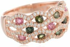 Rose Gold Flashed Silver Pink and Green Tourmaline and Cubic Zirconia Ring #unusualengagementrings