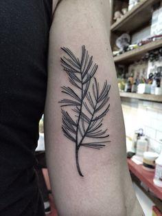 Pine sprig tattoo. By Jennifer lawes.