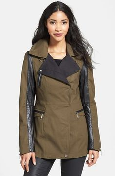 Dawn Levy Leather Sleeve Asymmetrical Jacket available at #Nordstrom