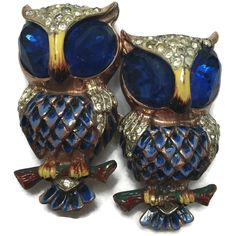 Coro Craft Sterling Owl Duette Blue Rhinestone Enamel Flawed Gold Vermeil 1940s  #Corocraft