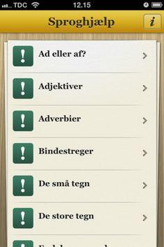 Sproghjælp er en fin app til hjælpe med det danskesprog. Her kan man læse om reglerne for endelser, komma mm