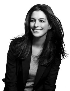 Anne Hathaway, black and white.