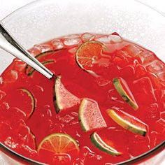 Watermelon Punch  6 cups watermelon juice (to make, purée fresh seedless watermelon)  One 3 oz. can frozen limeade  6 cups vodka  1 liter chilled club soda  Watermelon wedges    In a serving bowl, combine watermelon juice, limeade and vodka. Refrigerate until cold. Then add ice and chilled club soda; garnish with small watermelon wedges