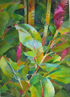 Tropical Foliage by Jane Jones Watercolor ~ 30 x 22 Abstract Flowers, Watercolor Flowers, Watercolor Paintings, Watercolors, Botanical Drawings, Botanical Art, Hawaiian Art, Caribbean Art, Tropical Art