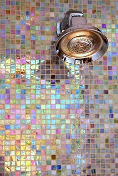 Iridescent shower tiles...too much grout to clean, but cute