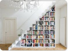 Staircase bookshelf- great idea!