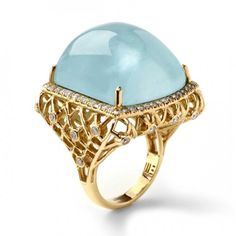 Aquamarine framed with diamonds set in cage ring by Mary Esses Brazilian designer Mary Esses creates breathtaking fine jewelry designs that are truly one-of-a-kind. Aquamarin Ring, Jewelry Trends 2018, Jewelry Accessories, Jewelry Design, International Jewelry, Fantasy Jewelry, Pomellato, Schmuck Design, Fine Jewelry