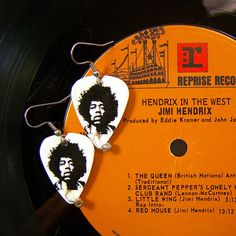 JIMI HENDRIX GUITAR Pick Earrings Rock n Roll Icon. $7.00, via Etsy.