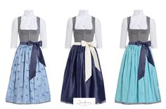 Trachtenträume in Blau: Dirndlschürze Annemarie, Viktoria und Clara  alle aus 100% Seide