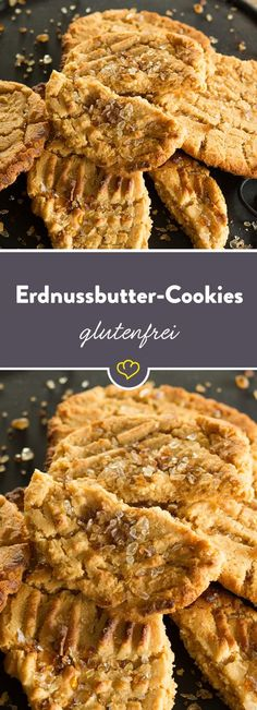 Mit diesen glutenfreien Erdnussbutter-Cookies bekommst du die volle Ladung Erdnu… With these gluten-free peanut butter cookies you get the full load of peanut butter. No flour, no cornstarch and no other binder. Gluten Free Peanut Butter Cookies, Paleo Cookies, Easy Cookie Recipes, Healthy Dessert Recipes, Paleo Dessert, Desserts, Delicious Recipes, Galletas Paleo, Cookies Receta