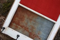 Reclaimed Old Window - Farmhouse Barn Tin MAGNETIC Board - Red BURLAP CORK Board - Shabby Chic Distressed Frame - Rustic Primitive Industrial