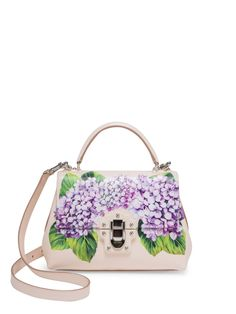 Dolce & Gabbana Lucia Hydrangea-Print Leather Top Handle Bag