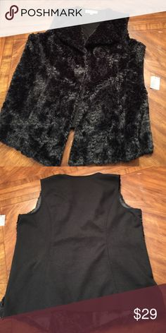 NWT JM Collection sz1X black fair fur vest... NWT JM Collection sz1X black fair fur vest...very soft and practical...look fabulous while being comfy..has hidden hook and eye clasps if you want to wear this closed...looks great open too... JM Collection  Jackets & Coats Vests