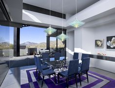 Modern Dining Room, Ultra Modern Eating Area, Contemporary Dining Room, Purple Dining Room, Colorful Eating Area, Home Inspiration, Arizona Architecture, Nature Inspired Interior Ideas, Creative Decor, Desert Designs, Custom Home