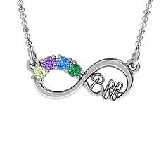 The '2-4 Stone BFF Infinity Pendant' - personalize with up to 4 birthstones to represent you and your best friends! #bff #bffnecklace #jewlr