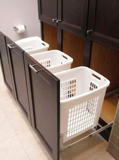 Laundry Hamper With Shelves 1 Small Laundry Room Ideas And Design Pull Laundry Hamper Cabinet Inserts House Design, Laundry In Bathroom, Master Closet, Room Design, Laundry Mud Room, Interior, Home, Remodel, New Homes