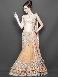 Gold-and-orange-triple-layer-lehenga