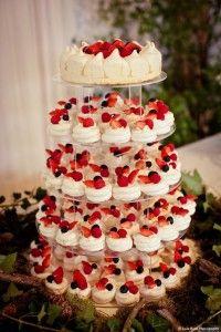 mini strawberry wedding cake for a summer wedding
