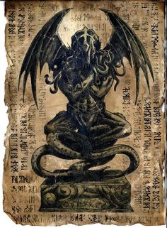 Gothic, Horror, and More \m/ — weirdletter: Cthulhu Idol - Necronomicon. Cthulhu Tattoo, Cthulhu Art, Call Of Cthulhu, Necronomicon Lovecraft, Lovecraft Cthulhu, Arte Horror, Horror Art, Gothic Horror, Lovecraftian Horror