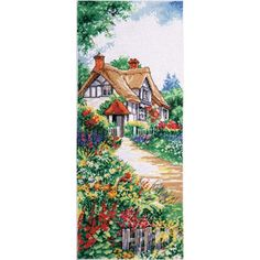 """Thatched Cottage Counted Cross Stitch Kit-8""""X20"""" 14 Count"""