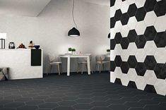 Wall Tiles by Realonda Jakarta Negro Hexagon 33 x Hex Tile, Hexagon Tiles, Wall Tiles, Tiled Hallway, Basement Bathroom, Tile Patterns, Geometric Designs, Curtains, Interior Design