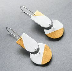 HARU PALETTE - Yurie white and gold handmade leather earrings minimalist