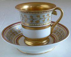 Russian Imperial Porcelain Babigon Cup Saucer 1825-1894