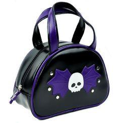 Black and Purple Bat Wing Skull Bowler Bag Purse