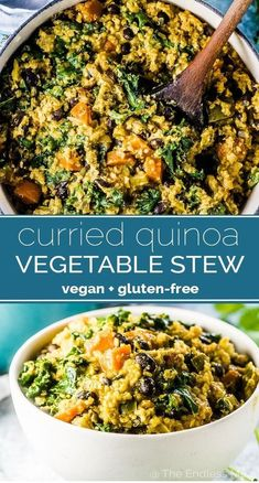 Quinoa Vegetable Stew SAVE FOR LATER! Curried Quinoa Vegetable Stew is an easy to make and hearty vegan dinner recipe. It's loaded with veggies and quinoa and dotted with black beans and has tons of flavor. It is my favorite vegan stew recipe! Healthy Recipes, Vegan Dinner Recipes, Vegan Dinners, Veggie Recipes, Whole Food Recipes, Vegetarian Recipes, Vegan Quinoa Recipes, Chicken Recipes, Sauce Recipes