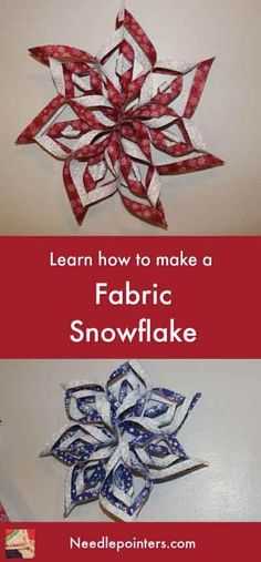 Fabric Ideas Fabric Snowflake Tutorial - These fabric snowflakes are wonderful decor for your house this winter. This video and photo tutorial shows how to make a no sew fabric snowflake. Origami Christmas Ornament, Quilted Christmas Ornaments, Christmas Sewing, Christmas Fabric, Handmade Christmas, Diy Ornaments, Snowflake Ornaments, Snowflakes, Kirigami