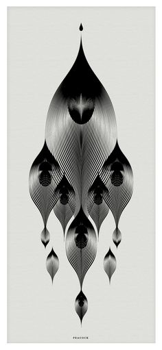 Highly stylized Peacock illustration. Andrea Minini's Animals in Moiré uses a style pattern known as moiré, in which the interplay of multiple sets of lines creates depth and contour. More at our site.
