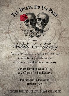 Read more gothic skull couple day of dead wedding invitation til death do us part wedding invitation diy printable with reply card stopboris Image collections