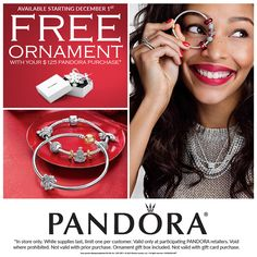 This December: Free Ornament with your $125 Pandora purchase! #Pandora