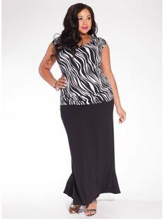 Delray Maxi Plus Size Skirt in Black