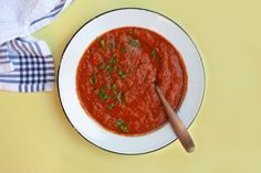 A quick and easy tomato chickpea soup using pantry staples! Vegan Gluten Free, Vegan Vegetarian, Chickpea Soup, Create A Recipe, Fresh Bread, What's Cooking, What To Cook, Meals For The Week, Fresh Herbs