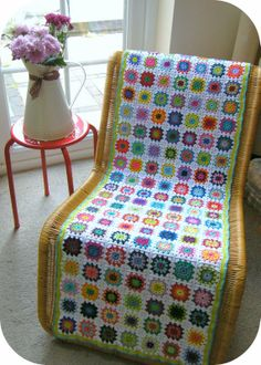 Annie's Place: Colourful flower runner revisited. I would love to do this as a blanket or lap throw. The colors are beautiful.