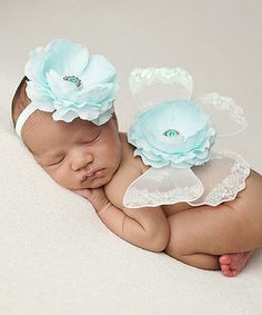 This White and Aqua Floral Headband & Wings by The Tiny Blessings Boutique is perfect! #zulilyfinds