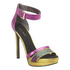 """Platform sandal with adjustable ankle strap.  Measurements: heel 4 3/4"""" and platform 1 1/4""""."""