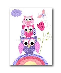 Green And Purple Owl Nursery Room Decor Canvas Art Baby Set Woodland Print For Pinterest