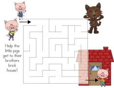 The Three Little Pigs - {Mini-Activity Pack} Three Little Pigs Story, Crafts For Kids, Arts And Crafts, Preschool Learning Activities, Pre School, 3 D, Fairy Tales, Third, Packing