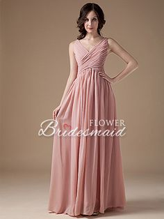 Dusty Rose Long A-Line Chiffon V-Neck With Straps Bridesmaid Dress - US$ 88.19 - Style B0356 - Flower Bridesmaid