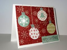 $4.00 Handmade Christmas card on snowflake paper with by loftcardsetc