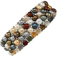 Earthtone Multi-Color Freshwater Cultured Pearl 3-Strand Stretch Bracelet, 6'-8' (5.5-6.0MM) ** Check out this great product.